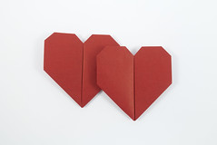 Two Hearts (Michał Kosmulski) Tags: origami heart hearts minimalism wedding marriage love valentine stvalentinesday michałkosmulski biotopepaper red