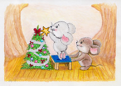 Christmas Tree (Aly / G) Tags: christmas tree holiday celebrate celebration picture pictures painting paints drawings drawing paintings art pop culture santa clause mouse decorate decorations interesting beautiful awesome popular animals illustration