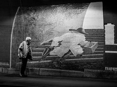 (empunkthapunkt) Tags: people streetlife streetphotography loner oneperson alone blackandwhite bw bwstreet monochrome light underpass wall urban mood atmosphere grafitti streetart menschen strasenfotografie einzelgänger einzeln schwarzweiss einfarbig unterführung wand olympus em10markii olympusm45mmf18