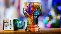 "Painted Glass - 7879 (✵ΨᗩSᗰIᘉᗴ HᗴᘉS✵90 000 000 THXS) Tags: glass painted art creative handmade madebyme color bokeh macro panasonic panasonicgx9 belgium europa aaa namuroise look photo friends be yasminehens interest eu fr party greatphotographers lanamuroise flickering challenge ""best with holidays is…"""