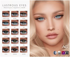 AG. Lustrous Eyes (Avi-Glam) Tags: aviglam ag second life sl avatar eyes mesh system bom catwa omega genus