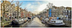They shoot Panorama's, don't they (Hans Veuger) Tags: nederland thenetherlands amsterdam amsterdamcentrum brouwersgracht willemsstraat houseboats canalhouses panorama stadspanorama cityscape nikon b700 coolpix nederlandvandaag unlimitedphotos twop pbwa