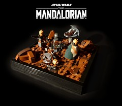 Star Wars THE MANDALORIAN - Protect the child (KevFett2011) Tags: star wars kevfett2011 mandalorian child baby yoda protect lego brick build building afol creation moc 2019 vignette attack fight landscape brown