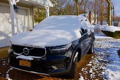 Winter beggins on Long Island! (ineedathis, Everyday I get up, it's a great day!) Tags: snow winter driveway pavers bricks garage 2020volvo suv trees house chimney fence nikond750