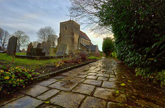 Reflective  path, St Andrews  Church Steyning Sussex (Through Bri`s Lens) Tags: sussex steyning standrewschurchsteyning rain church pathway churchyard brianspicer canon5dmk3 canon1635f4