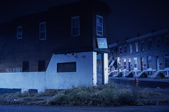 (patrickjoust) Tags: fujica gw690 fujichrome t64 6x9 medium format 120 rangefinder 90mm f35 fujinon lens cable release tripod long exposure night after dark manual focus analog mechanical chrome slide e6 color reversal expired discontinued tungsten balanced film patrick joust patrickjoust baltimore maryland md usa us united states north america estados unidos urban street city abandoned vacant empty corner store brick row house home allihave graffiti writing wall fuji fire hydrant weeds wet rain rainy pepsi sign