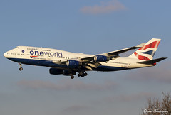 British Airways (Oneworld livery) 747-400 G-CIVZ (birrlad) Tags: heathrow lhr international airport london uk aviation aircraft airplane airplanes airline airliner airlines airways arrival arriving approach finals landing runway sunlight winter boeing b747 b744 747 747400 747436 gcivz british ba speedbird oneworld livery