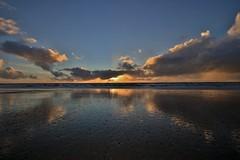 Tywyn Beach (Ade Barnett) Tags: sunset sundown beach clouds sand tywyn wales northwales tywynwales canon canon80d reflection water sea landscape sigma uk coast sun 2018 blue orange grey flash wideangle wideanglelens