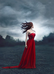 Regrets Only ({jessica drossin}) Tags: jessicadrossin faceless wind red dress blue story rain sky clouds wwwjessicadrossincom