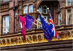 Brexit .... Where We Are Up To (2) .......A bit of fun. (Fermat 48) Tags: manchester unionjack unionflag brexit nearlythere peterstreet eu euro glass windows flags midlandhotel stars canon eos 7dmarkii