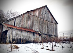 Old barn (Kjetil Øvrebø) Tags: old winter snow building norway barn outdoor farm trondheim iphone leinstrand uståsen wood abandoned rural rust weathered picsart