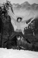 Flying Angel (frank.gronau) Tags: schnee woman mountain girl frank happy flying jump jumping asia sony 9 berge alpha gronau angel engel
