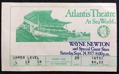 Vegas Shamu (Ducky007) Tags: wayne newton orlando florida sea world atlantis theatre ticket 1977 ephemera theme park
