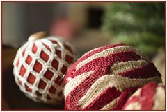 Old Fashioned ornaments (Karon Elliott Edleson) Tags: ornaments baubles homemade theflickrlounge weekendtheme redandgreen macro closeup christmas creativetabletopphotography holidays decorations
