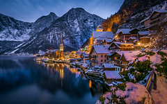 Winter village (gregor158) Tags: winter snow mountain mountains reflection lake blue travel places austria österreich europe hallstatt tree trees lights christmas clouds