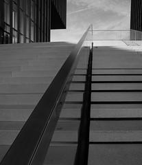 Stairway to heaven (frankdorgathen) Tags: alpha6000 sony1018mm geländer railing hotel hyattregency mediaharbour medienhafen düsseldorf monochrome blackandwhite schwarzweis schwarzweiss perspektive perspective weitwinkel wideangle treppe stairs