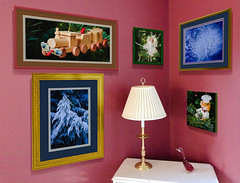 Shouldn't our art be part of our Christmas decor? (GeorgeOfTheGorge) Tags: wallgallerydesigner interiordesign baker gallerywall frames corner gold gallery woodentrain trees blue raspberry ipad ipadpro129 walls chest cake duck green lampglobe decorations photogallery angel tree beaverton or