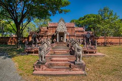 Replica of the Phimai Sanctuary in Muang Boran in Samut Phrakan, Thailand (UweBKK (α 77 on )) Tags: muang mueang boran ancient city siam open air museum park garden bangkok samut phrakan thailand southeast asia sony alpha 77 slt dslr phimai sanctuary replica history historical building architecture naga tree shadow