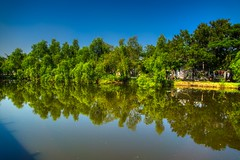 Lake in Muang Boran in Samut Phrakan, Thailand (UweBKK (α 77 on )) Tags: muang mueang boran ancient city siam open air museum park garden bangkok samut phrakan thailand southeast asia sony alpha 77 slt dslr lake water reflection tree bush