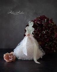 The ballerina (hehaden) Tags: ballerina card tulle ribbon crystal flower rose hydrangea stilllife tabletop sel24f18z