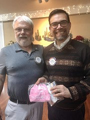 Congratulations Felipe! A pink Rotary hat for baby Elena.