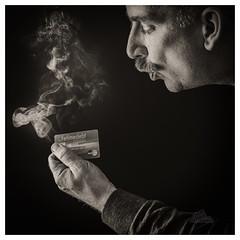 'Tis the season (_Matt_T_) Tags: creditcard smoke af540fgz credit xmas christmas selfie dailyindecember breath apolloorb43 smcpdfa50mmf28macro westcott smoking 365 bw blow debt cactusv6