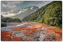 Red River Bed (Bob Shrader) Tags: olympuspenf olympusmzuikodigitaled12100mmf40ispro 12mm f71 1200sec 200iso raw microfourthirds mft m43 mirrorless oceania newzealand southisland arthurspass railroad water river riverbed mountains sky clouds plant trees soil mineral rocks olympuspenfmirrorless penf zoomlens mzuiko12100mmf40ispro olympusmzd12100mmf40ispro wideshot exterior outdoors landscape affinityphoto tonemapping singleimagehdr dxo dxoviewpoint3elite on1 photoraw2020 presets colortwist hdr hdrsingleimage photoborder photoedge photoframe postprocessing preset style