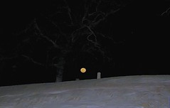 Moon Rise Over Grave Yard (clarkcg photography) Tags: night graveyard grave tombstone headstone snow moon fullmoon cold