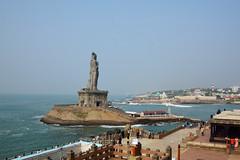 Thiruvalluvar in sea. (draskd) Tags: kanyakumari thiruvalluvar vivekanandarockmemorial seascape ocean draskd memorial kanyakumaritemple arabiansea bayofbengal landscape tamilnadu hinduism