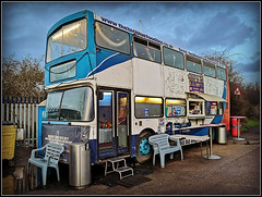 The Big Blue Food Bus (Jason 87030) Tags: food cafe bap burger snadwich bus doubledecker thurrock lakeside grays essex seat menu prices windows lights huawei shot december 2019 volvo olympian use converted kitchen coffee n340npn
