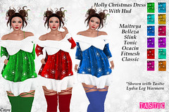 Tastic-Holly Christmas Dress with Hud (Spanky SL *Owner of Tastic store*) Tags: xmas red blue purple green orange white yellow gold inside outside fitmesh mesh catwa sintiklia maitreya belleza slink tonic cute designer christmas holiday hotfuss flickr secondlife sl photo new old ad vendor store sale event limited
