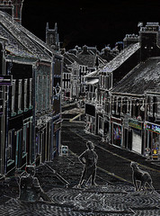 Scotch Street Downpatrick {explored} (conall..) Tags: silentdog sculpture figures scotch street downpatrick nikon afs nikkor f18g lens 50mm prime primelens nikonafsnikkorf18g manipulated manipulatedimage photoshop elements 15 messing abstract weird glowing edges sliderssunday