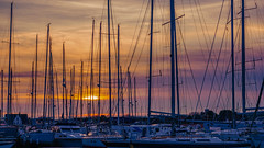 Sunset at the Yacht harbour (Roland B43) Tags: yacht harbour blankenberge belgium sunset
