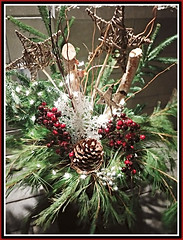 Happy Holidays (bigbrowneyez) Tags: christmas decorations festive stars stelle navidad noel natale lovely centerpiece beautiful lights bello nature natura bellissimo fresh winter cold fuore outdoors decorative december silvanashouse pretty cousin fancy pine branches inverno visit happyholidays buonnatale buonefeste berries needles