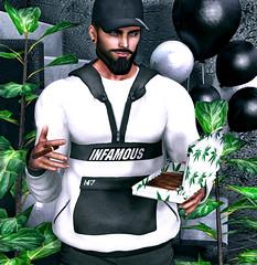 [ 📷 - 243 ] (insociable.sl) Tags: n7 nero crystal magnificient cigar smoke grass plant weed hoodie sweater streetwear model beard boy man male edit sl secondlife