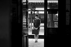 'Eleanor' (AndrewPaul_@Oxford) Tags: eleanor ecce natural light blackandwhite bluebell railway 1940s horsted keynes station doorway frame wraf womens royal air force environmental portrait