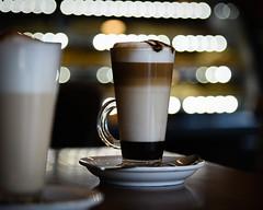 Mocha Latte (HW111) Tags: café drinks hot lights mochalatte winter layers bokeh coffee mocha glass flickrfriday verre vidro
