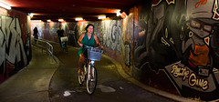 Maastricht (Nederland - Pays-Bas) - Murals in a Tunnel (saigneurdeguerre) Tags: antonioponte antonio ponte canon 5d mark mark3 3 iii nederland paysbas netherlands limburg limbourg maastricht maestricht mural graffiti red rouge vélo fiets bicycle