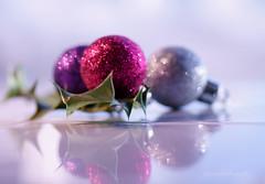 Glitter! (Elisafox22) Tags: elisafox22 sony ilca77m2 100mmf28 macro macrolens telemacro lens hmm macromondays baubles sparkle glitter silver red purple holly stilllife indoors elisaliddell©2019 bestwithholidaysis bokeh