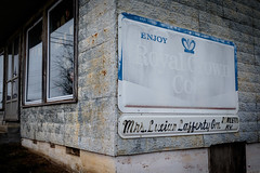 Mrs. Lucian Lafferty Gro. - Rowletts, KY. (Mr. Pick) Tags: rowletts ky kentucky hart county mrs lucian lafferty grocery store general country tin metal siding sign rc royal crown cola