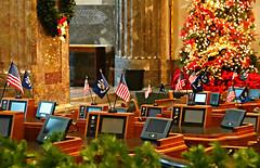 Senate Chamber (Colorado Sands) Tags: merrychristmas chamber holidays christmas sandraleidholdt flags desks batonrouge usa statecapital louisiana senatechamber capital christmastree senate