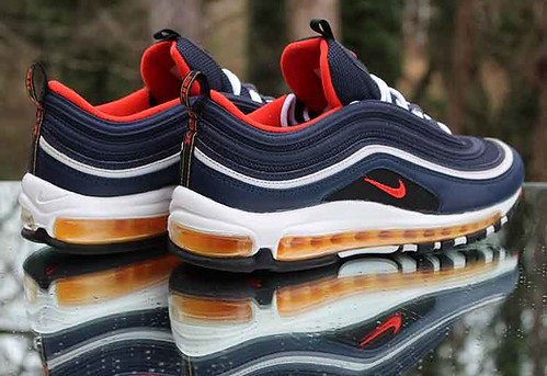 Nike Air Max 97 Midnight Navy Men's Size 10 Habanero Red