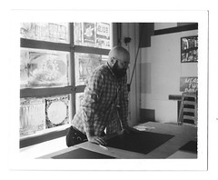 Ryan in the Lab (scottboms) Tags: polaroid california instantfilm analog film npc195 bw analogresearchlab menlopark printmaking designerinresidence