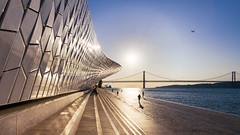 Rising maat (frank_w_aus_l) Tags: lissabon maat architecture people light sunrise sun summertime dawn blue blueish shadow lines lisbon bridge 25deabril nikon d810 1635 nikkor color plane reflection regiãodelisboa portugal