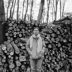 S. Ch. (Boldizsár Nádi) Tags: 120 120film film celluloid pentacon six tl carl zeiss jena mediumformat medium format grain squareformat 6x6 nc analog analogue analogphotography analogphotohrapher filmphotography filmgrain argentique vintage noise p6 ilford pan 100 czj fomadon d76 bw black white monochrome self developed portrait dof autumn fall flektogon rollei 400 rpx scarf woman girl development nature forest bushes dry twigs