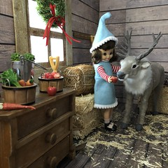 4. Feeding time (Foxy Belle) Tags: christmas barn reindeer santa diorama doll 16 scale vintage felt betsy mccall tiny 9 elf costume handmade sew ooak wooden hay team caribou flocked miniature animal scene window