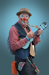 Musical Clowning (Scott 97006) Tags: clown music instruments parade outfit nose humor fun kazoo horn ukulele facepaint funny