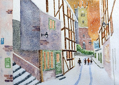 Best wishes for Christmas and the New Year (Jim Roberts Gallery) Tags: childrenscancercharity watercolour fundraising christmascards shropshire jimroberts jimrobertsgallery
