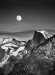 Moonrise over Half Dome (alicecahill) Tags: california usa landscape ©alicecahill yosemitenationalpark nationalpark moonrise mariposacounty bw halfdome fullmoon yosemite