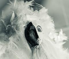 Schwarz oder weiss? --- Black or white? (der Sekretär) Tags: feder federn gesicht kopf marionette mensch menschen portrait puppe stoff textilien fabric fabrics face feather feathers head people person